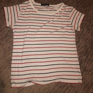 navy blue and red stripe shirt